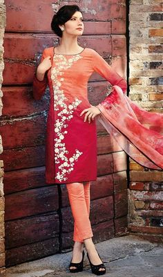 Bring forth your charm and elegance to the forefront with this salwar suit in red and orange color georgette. The beautiful lace and resham work in the course of dress is awe-inspiring. #PeachAndRedEmbroideredDress