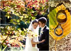 Bride and Groom pose in Fall leaves