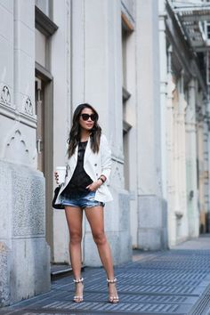 Studs & Blazers :: Double-breasted jacket & Studded sandals