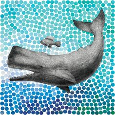 New Friends Series: Whale and Fish I by Eric Fan - canvas print