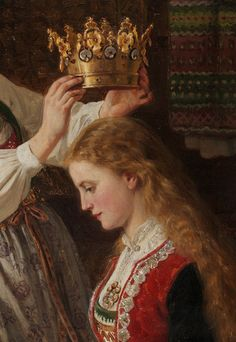 "greuze: "" Adolph Tidemand Brudepynting (Detail) Oil on canvas, 1870 "" Virgo Love, Medieval World, Medieval Art, Princess And The Pea, Pre Raphaelite, Bridal Crown, Detail Art, Dark Ages, Pretty Art"