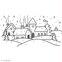Tampon de Noël - Village de Noël - 12 x cm - Tampon transparent - Creavea - aquarelle petite illustration bricolage Christmas Doodles, Christmas Coloring Pages, Christmas Drawing, Christmas Mood, Christmas Colors, Christmas Crafts, Art Drawings For Kids, Easy Drawings, Colouring Pages