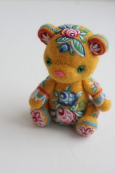 felted bear in the Russian style