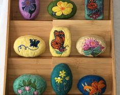 Needle Felted Soap Set of Nine with Display Sampler Great Gifts Felted Soap, Wet Felting, Needle Felting, Felt Diy, Felt Crafts, Diy And Crafts, Felt Pictures, Wool Embroidery, Handmade Soaps