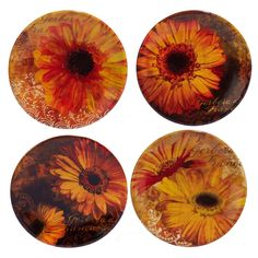 Certified International Gerber Daisy Ceramic Appetizer Plates 6'' Yellow - Set of 4
