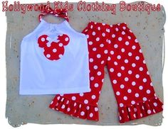 Custom Boutique Clothing White Minnie Mouse Pillowcase Dress Top Red Ruffled Pant Outfit Set 3 6 9 12 18 24 month 2T 2 3T 3 4T 4 5T 5 6 7 8. $36.99, via Etsy.