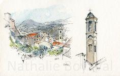 Carnet aquarelles Corse (13) Visite de Corte (centre) et sa belle citadelle. Baignade dans les vasques de montagne (gorges de la Restonica) pour se rafraîchir.