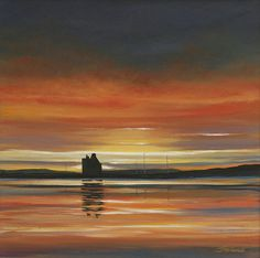 """""""Sunset over Lochranza Castle"""" by Scottish contemporary landscape painter J Mackintosh Isle Of Arran, Contemporary Landscape, Art Paintings, Watercolour, Scotland, Castle, Sunset, Pen And Wash, Watercolor Painting"""