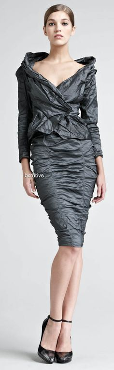 Donna Karan Crushed Stretch-Metallic Jacket & Skirt - Love the neckline & scrunchy fabric