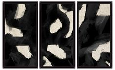 Contemporary Black Swirls Triptych
