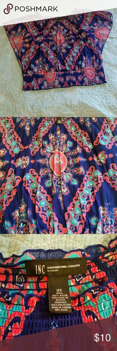 Macy's Shirt *Multi-colored graphic printed satin feel shirt with bright blue sewn in under shirt *Size 0X  *From Macy's (Brand name is I-N-C) *Worn only once or twice *Good for casual wear Macy's Tops Blouses
