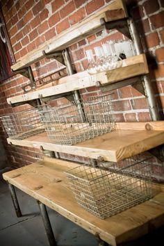 Tiered display shelf by Backcountry Steel. Vintage industrial