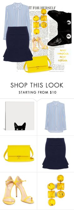 """""""• Yellow •"""" by maargita ❤ liked on Polyvore featuring iHeart, PB 0110, Casadei and earrings"""