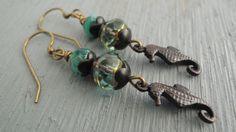 Brass Seahorse Earrings Black Sea Horse Earrings Beach Jewelry Aqua Glass…