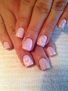 Pastel Pink Gel Nails Heart Nail Art