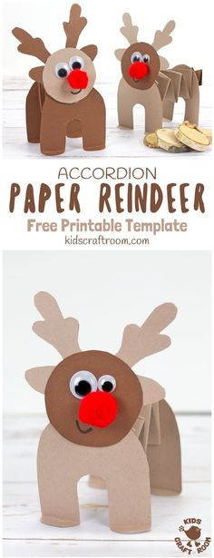 PRINTABLE ACCORDION PAPER REINDEER CRAFT - here's a fun printable reindeer kids can play with. This homemade paper reindeer toy has a simple but cleverly folded body that allows it to stand up and be walked along by little hands. The accordion folds work Preschool Christmas, Christmas Crafts For Kids, Christmas Activities, Preschool Crafts, Kids Christmas, Holiday Crafts, Fun Crafts, Reindeer Christmas, Advent For Kids