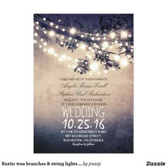 Rustic tree branches & string lights wedding card