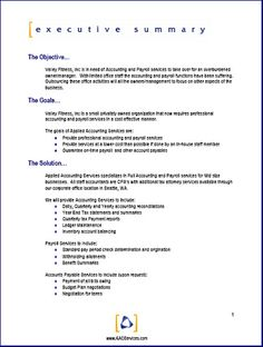 Examples Of An Executive Summary  Executive Summary Template