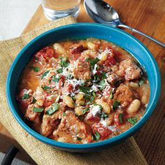 Slow Cooker Recipes Under 300 Calories | Smoked Sausage Cassoulet | MyRecipes.com