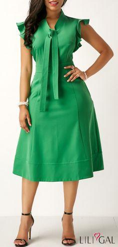 High Waist Tie Neck Pocket Green Dress   #liligal #dresses #womenswear #womensfashion