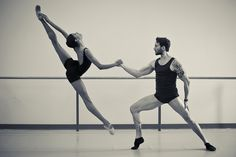 """Former Pointe cover star Adji Cissoko and Jiří Jelinek, both of National Ballet of Canada, rehearse """"Chroma."""" Photo by Dylan Tedaldi."""