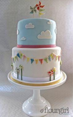 baby shower cake by Flourgirl Cakes I like the clouds on this one and then the balloon basket could be on top.