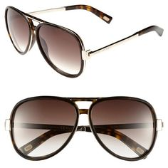 MARC JACOBS 59mm Aviator Sunglasses ($345) ❤ liked on Polyvore featuring accessories, eyewear, sunglasses, glasses, dark havana, dark glasses, uv protection sunglasses, aviator sunglasses, marc jacobs eyewear and marc jacobs aviators