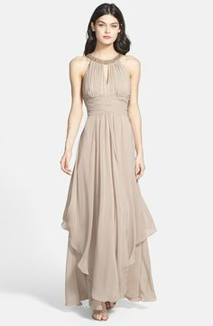 In BLUSH OR CHAMPAGNE  Eliza J Embellished Tiered Chiffon Halter Gown available at #Nordstrom