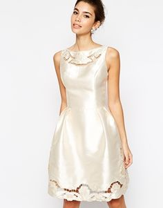 Enlarge Chi Chi London Full Skater Prom Dress With Laser Cutwork Detail