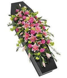 Funeral Pink Rose and Lily Casket Spray - Passion For Flowers Liverpool Funeral Floral Arrangements, Large Flower Arrangements, Flower Centerpieces, Church Flowers, Funeral Flowers, Wedding Flowers, Casket Flowers, Funeral Caskets, Funeral Sprays