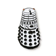 Doctor Who Dalek White Enamel Lapel Pin 8.95$ Perfect Accessory for Jackets, Hats, and Bags!