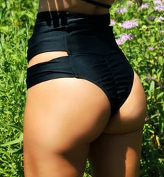 Black High Waist Bikini Bottom Peek-a-Boo by ForeverYoungSwimwear