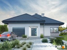 Dom w renklodach 2 Modern Small House Design, Small Modern Home, Modern House Plans, Modern Bungalow Exterior, Three Bedroom House Plan, Beautiful House Plans, Modern Front Yard, Bungalow House Plans, Architectural Design House Plans