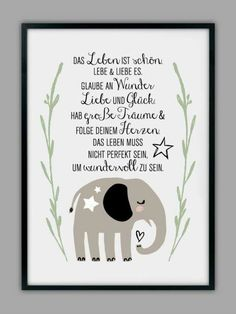 Lebe,liebe,große Träume Geburtstag Freundschaft Spruch Karte Gruß Lebensweisheit Grußkarte Elefant - Viele weitere tolle, originelle und humorvolle Geburtstagssprüche findet ihr auf http://www.magicofword.com/sprueche/geburtstagssprueche