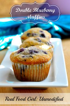 Real Food Double Blueberry Muffins | RealFoodGirl:Unmodified