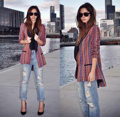 August Street Aztec Print blazer, Zara Boyfriend jeans