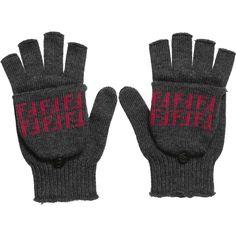 Girls Grey 'FF' Logo Fingerless Mittens, Fendi, Girl