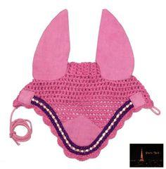 Paris Tack Crystal Bling Crochet Horse Fly Veil / Ear Net - Pink Full - http://www.petsupplyliquidators.com/paris-tack-crystal-bling-crochet-horse-fly-veil-ear-net-pink-full/