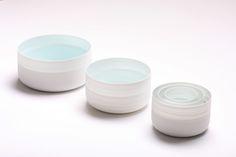 """Inhwa Lee """"Shadowed White - Cylinder set"""" Porcelain, Marbling, Wheel throwing, 1280℃ Reduction Firing, Polishing"""