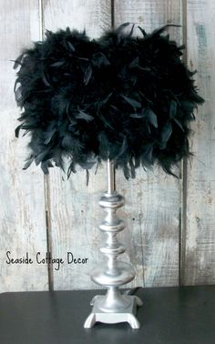 Shabby Hollywood Feather Lamp ~ Real Feather shade ~ Shabby Glam Decor