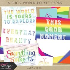 Free A Bug's World Pocket Cards from Pixel Scrapper {on Facebook}