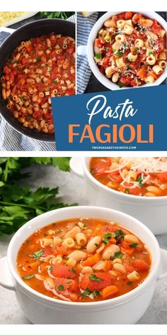 Pasta Fagioli is an easy one pot vegetarian meal you will love! A comfort food soup recipe for the cold weather made with pasta and beans. A very thick and satisfying hearty Italian soup that will be a next favorite in your holiday diner parties. Pin this Pasta Recipes, Healthy Dinner Recipes, Soup Recipes, Cooking Recipes, Pasta And Beans Recipe, Pasta Fagioli Recipe Vegetarian, Vegetarian Crockpot Soup, Healthy Soups, Healthy Vegetables