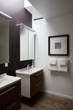 This contemporary master bathroom has 'his and her' sinks and a skylight adds a touch of natural light to the space.