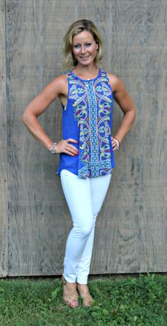 September Stitch Fix Review from Primally Inspired Tucker Mixed Print Split Back Tank with White Mavi Skinny Denim