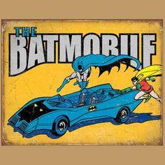 """Enseigne en Métal avec Fini Vieillit DC Comics - """"The Batmobile"""" Rétro"""