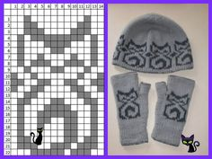 Kitty hat and mitts Knitted Mittens Pattern, Knitting Paterns, Knitting Machine Patterns, Knit Mittens, Knitting Charts, Loom Knitting, Knitting Stitches, Knitting Socks, Baby Knitting