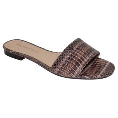 Women's Who What Wear Ava Exotic Print Slide Sandals - Natural 9.5