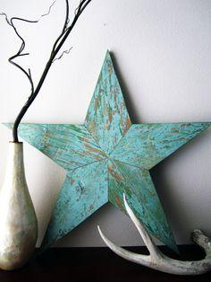 Blue/Green Wood Grain Star from BlueSawdust