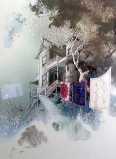 "Watercolor ""Quilt Maker Watercolor"" by Michael Atkinson"
