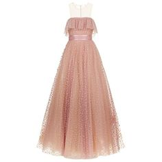 Jenny Packham Ruffle Bust Flock Polka Dot Ball Gown ❤ liked on Polyvore (see more Jenny Packham)